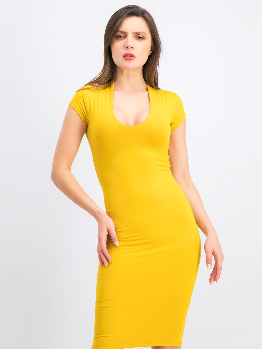 Women's Plain Bodycon Midi Dress, Mustard