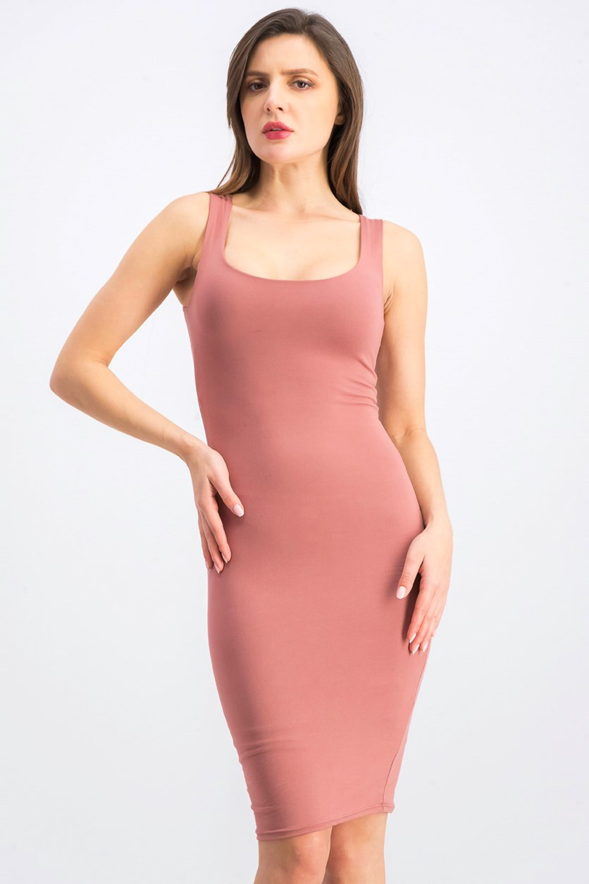 Women's Plain Bodycon Dress, Pink Rose