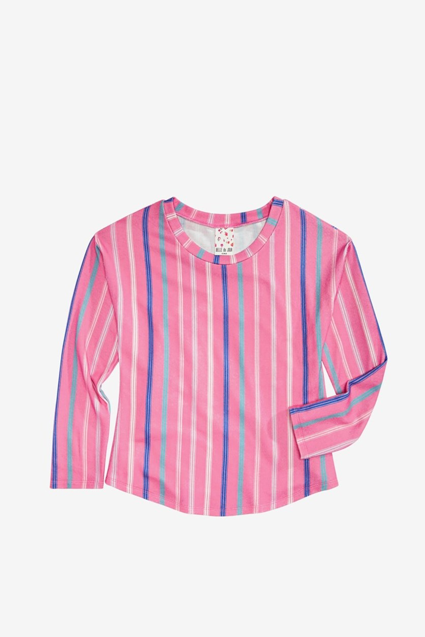 Big Girls Striped Top,Pink Combo