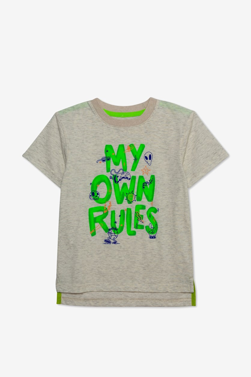 Kids Boys My Own Rules Graphic T-Shirt, Oatmeal