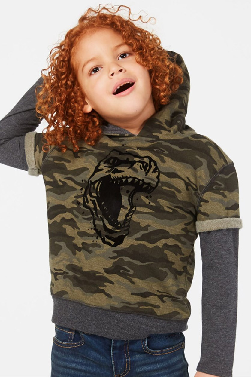 Little Boys Dino Graphic Hoodie Camouflage, Grey/Olive/Black