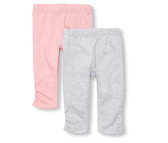 Baby Girl's Solid Colored Leggings, Pink/Grey