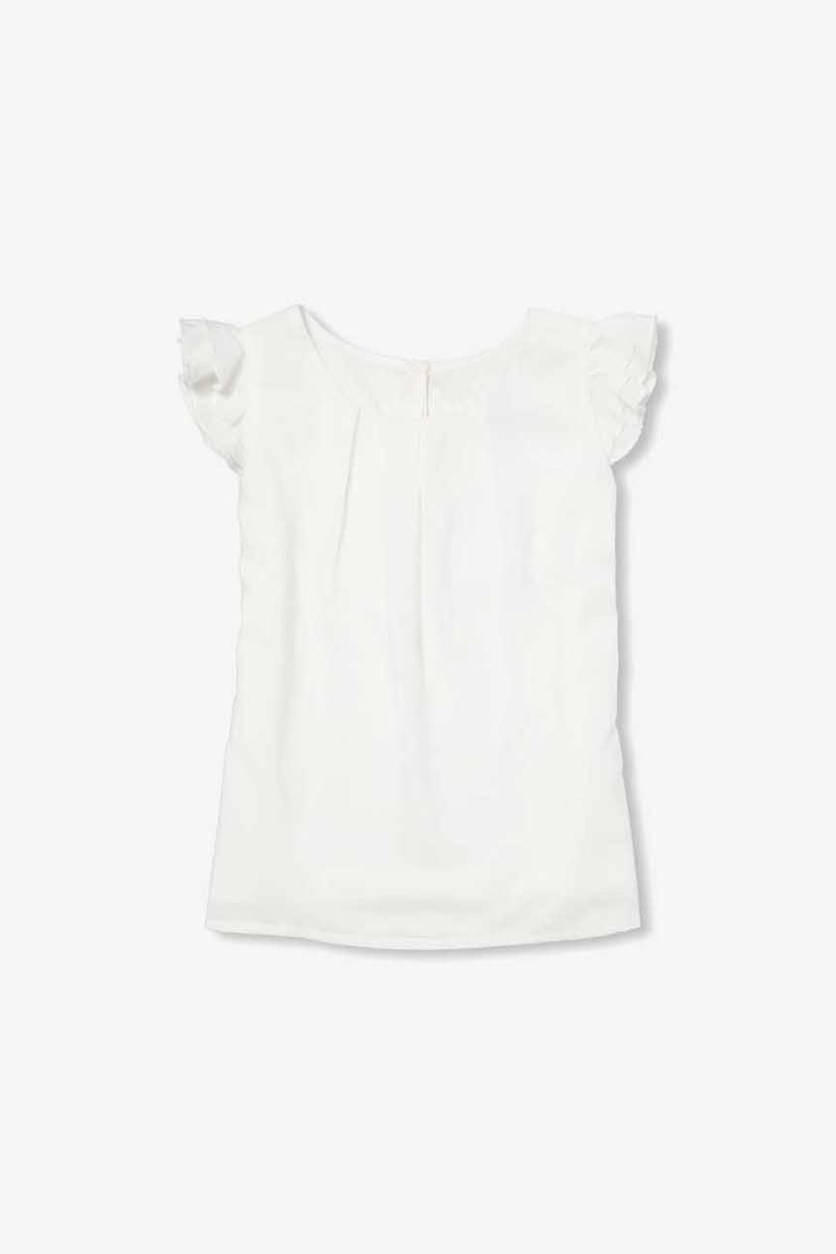 Big Girl's Ruffled Sleeve Tops, White