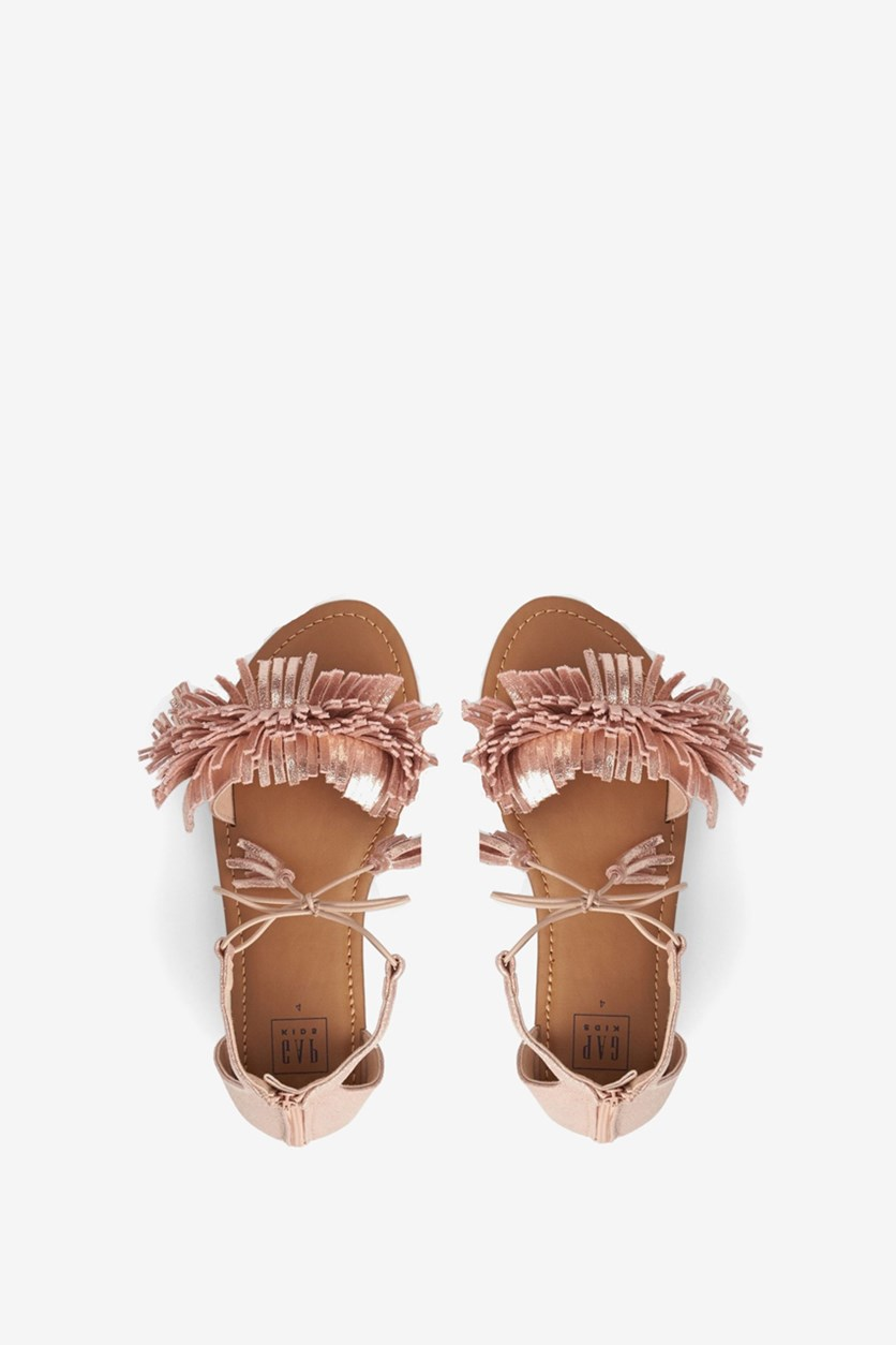 Girl's Fringe Details Sandals, Rose Gold