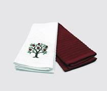 Set Of 2 Kitchen Towel, White/Red