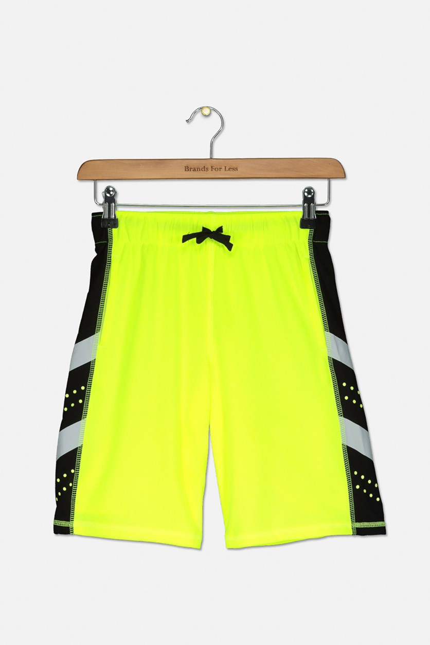 Kids Boys Drawstring Shorts, Lime Green