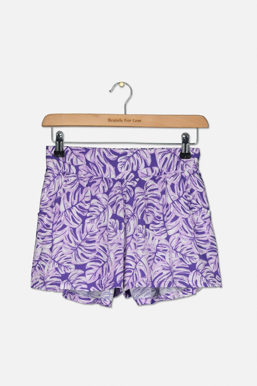 Girl's Printed Two Pocket Short, Puple