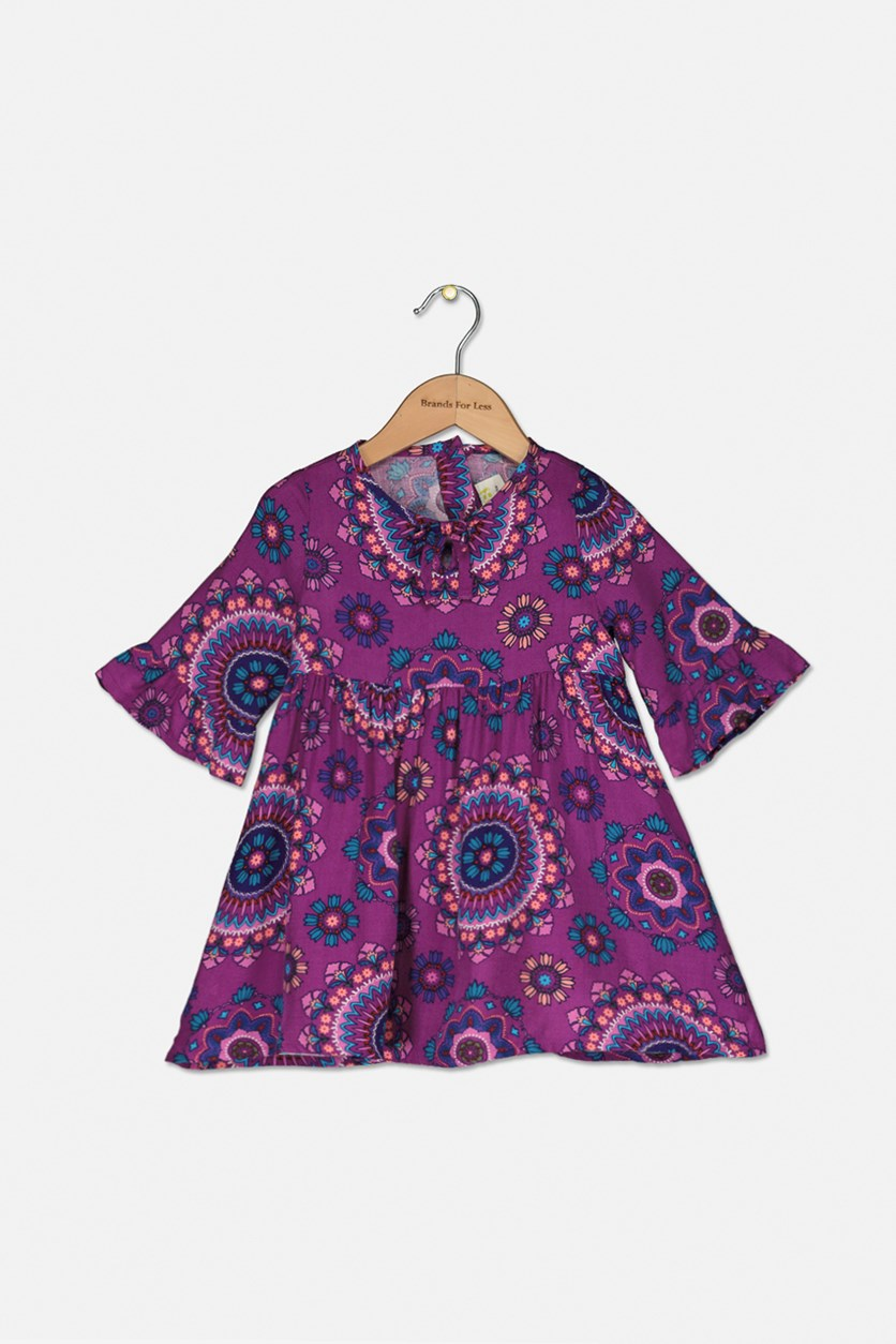 Toddler Allover Print Dress, Purple Combo