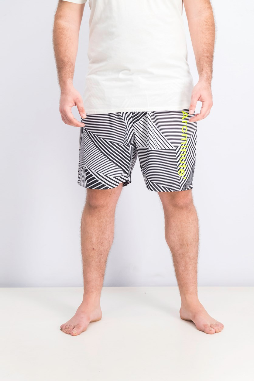 Men's Stripe Board Short, Black/Neon Green/White