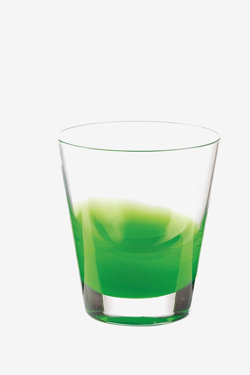 Two-Tone Water Glass, Clear/Green