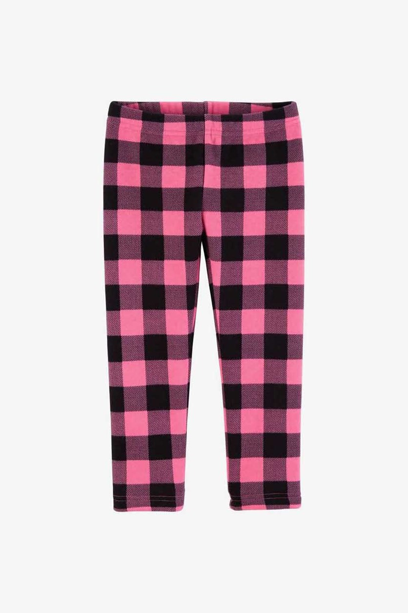 Kids Girl's Plaid Fleece Leggings, Pink/Black