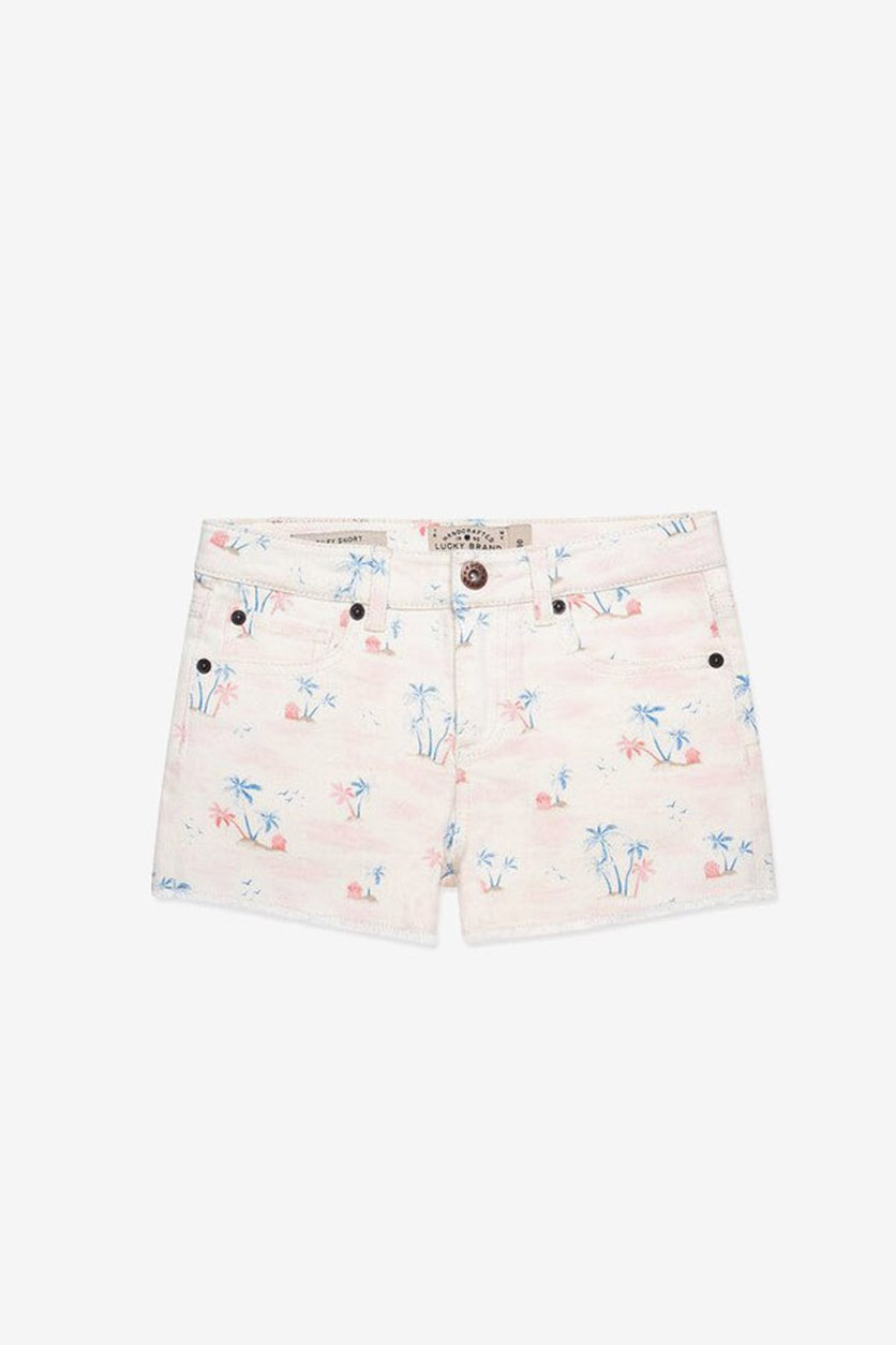 Little Girls Palm Print Dining Short, Whisper White