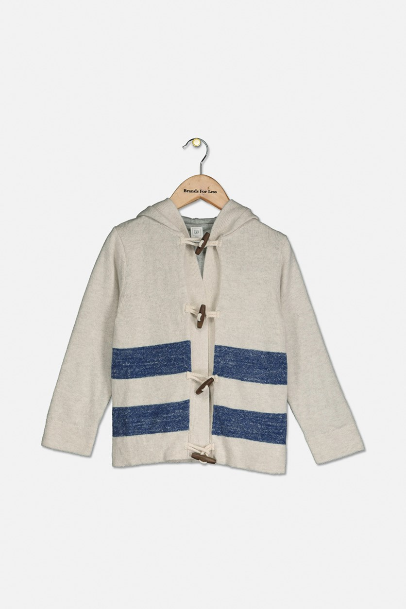 Kids Boy Toggle Hooded Cardigan, Oatmeal