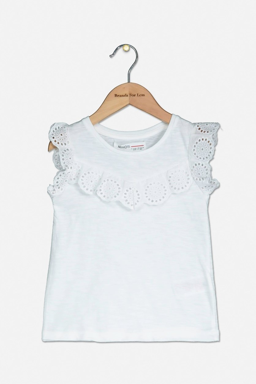 Kids Girls Slub Vest Top, White