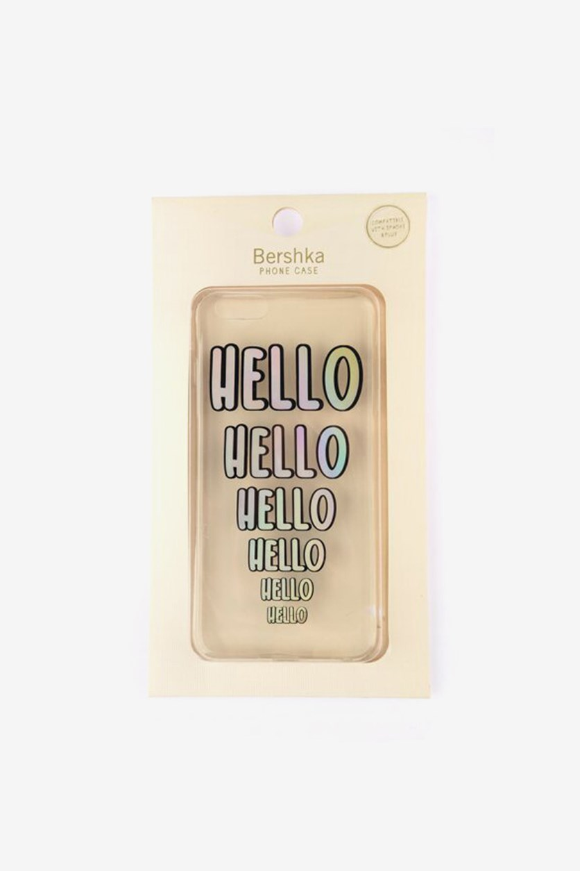 Printed Hello Cover Phone Case, Transparent