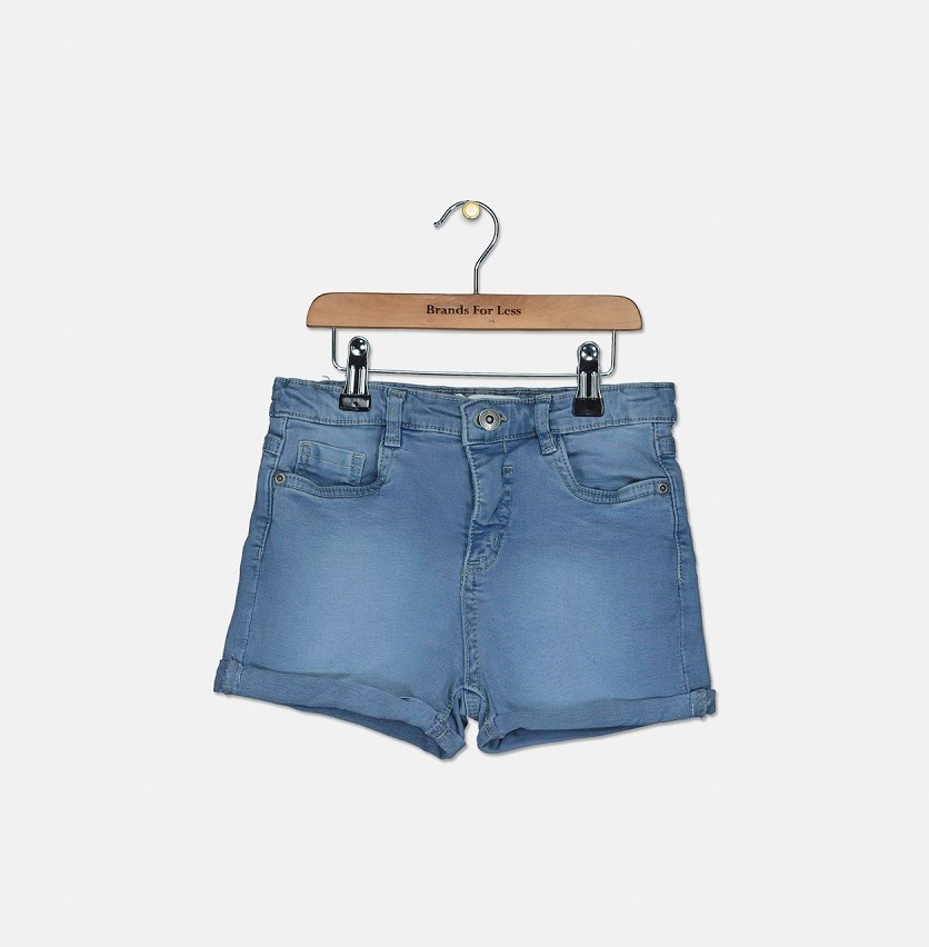 Kids Girls Denim Short, True Blue Denim