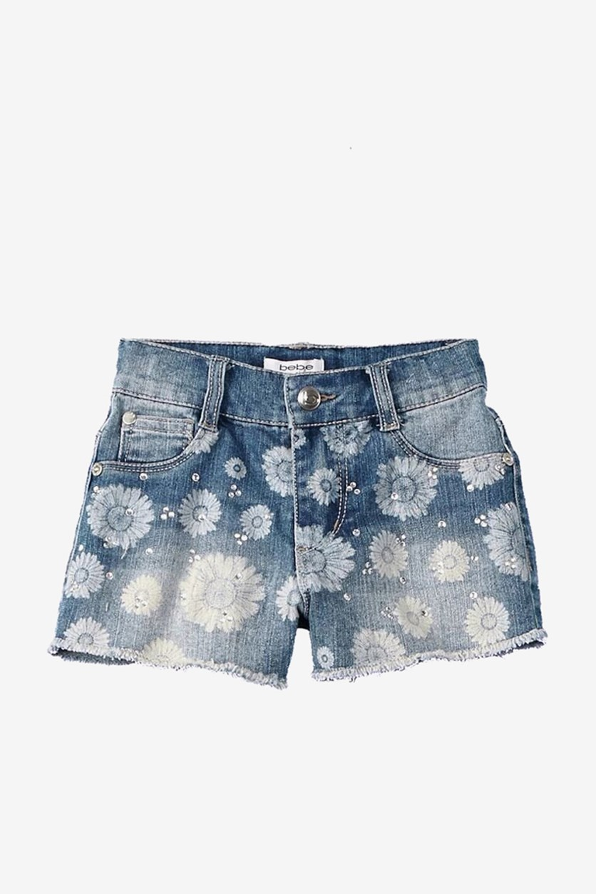Kids Girl's Rhinestones Floral Print Bleached Out Denim Short, Blue Wash