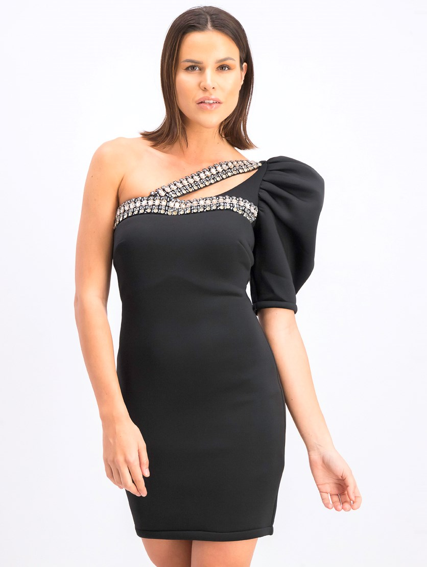 Women's One Shoulder Sleeve Rhine Stone Dress, BLack