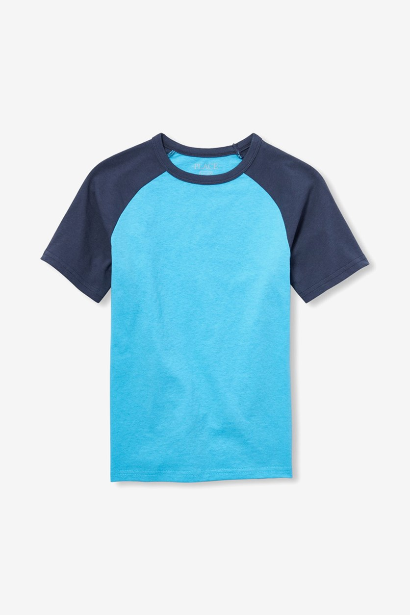 Kids Boys Short Sleeve ColorBlock Raglan Tee Shirt, Poseidon