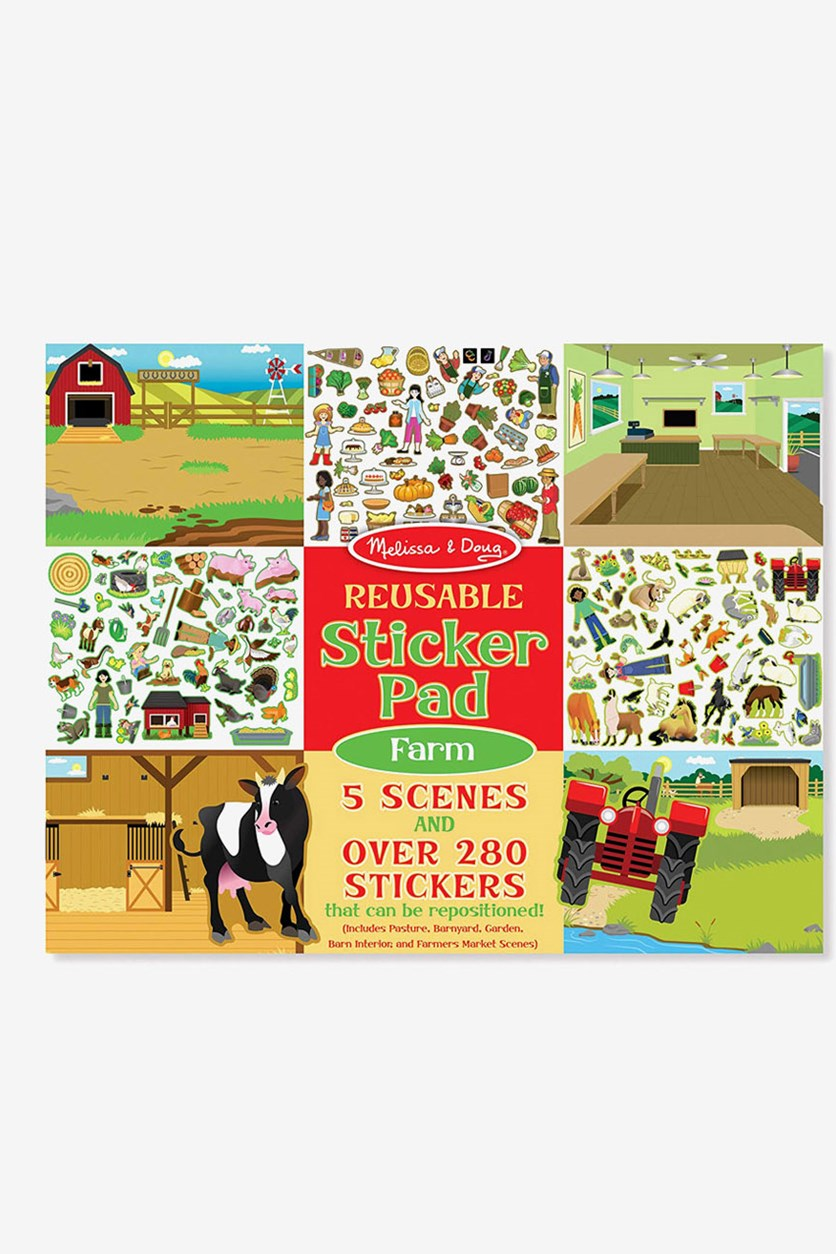 Farm Reusable Sticker Pad, Red/Green Combo