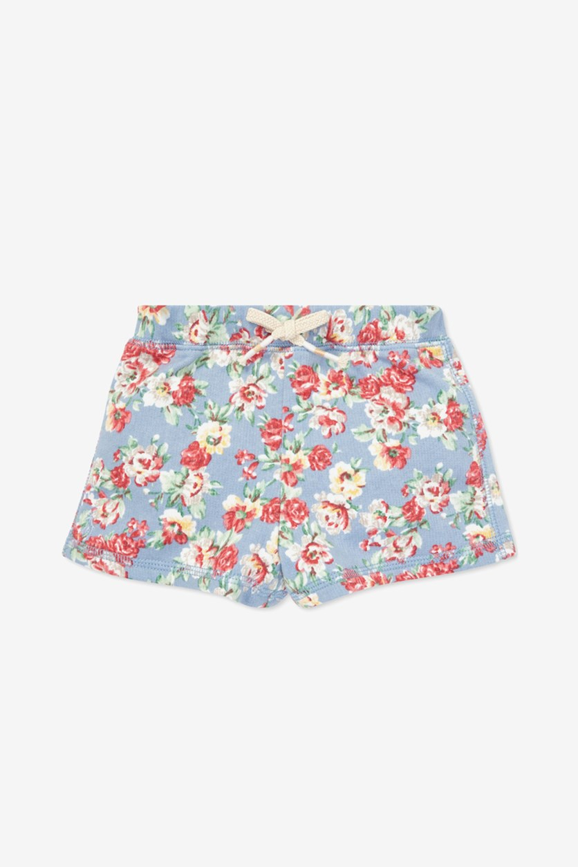 Baby Girls Floral Cotton French Terry Shorts, Blue/Pink