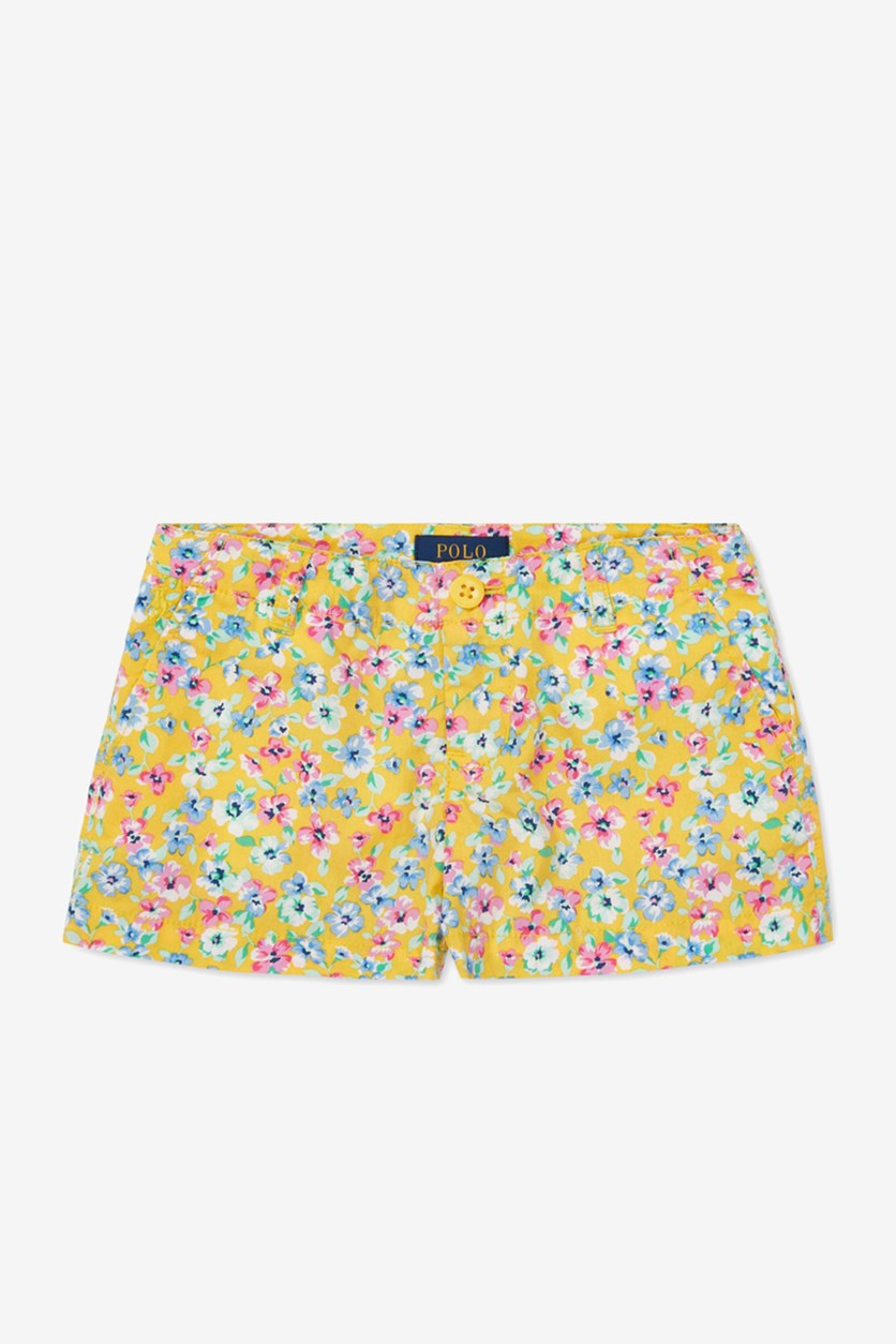 Toddler Girls Floral-Print Poplin Shorts, Yellow