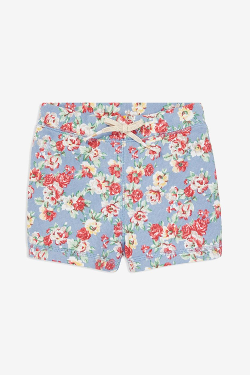 Toddler Girls Floral Cotton French Terry Shorts, Blue