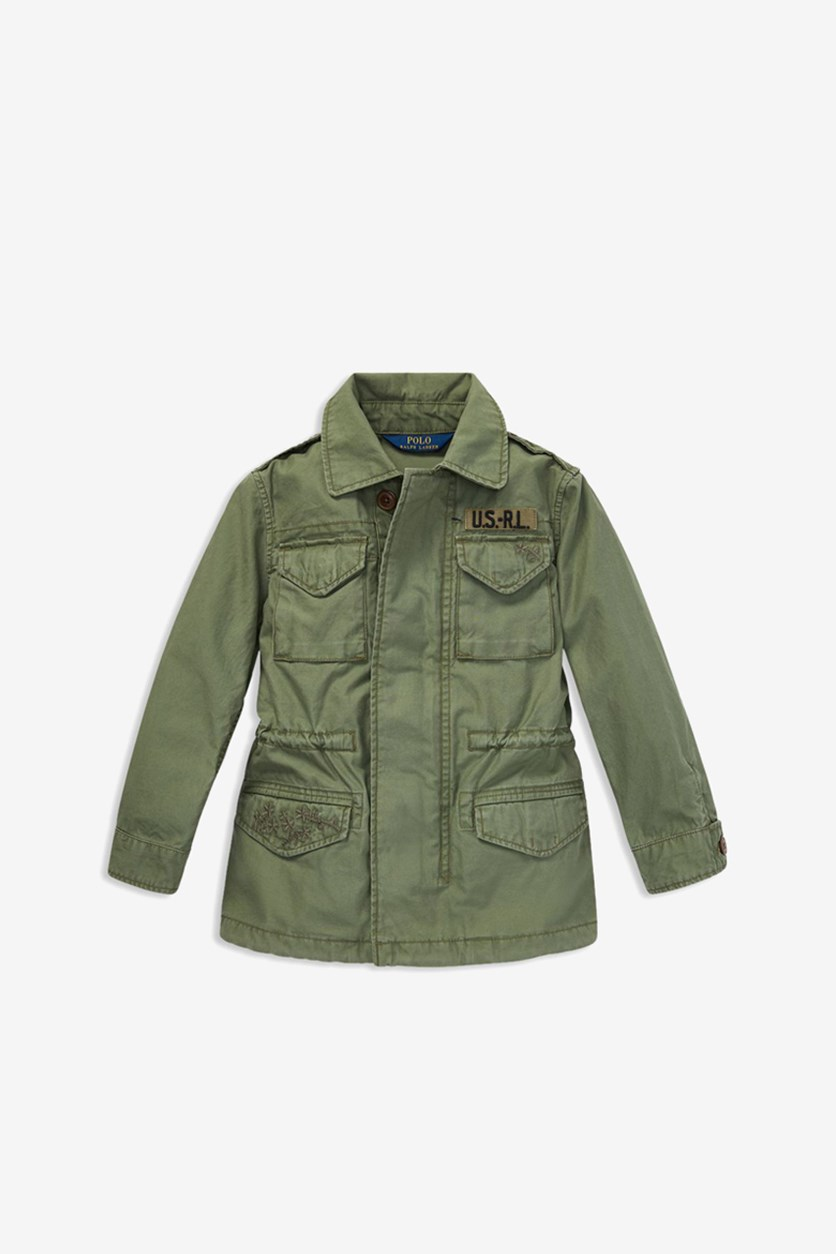 Girls Twill Military-Inspired Cotton Jacket , Olive