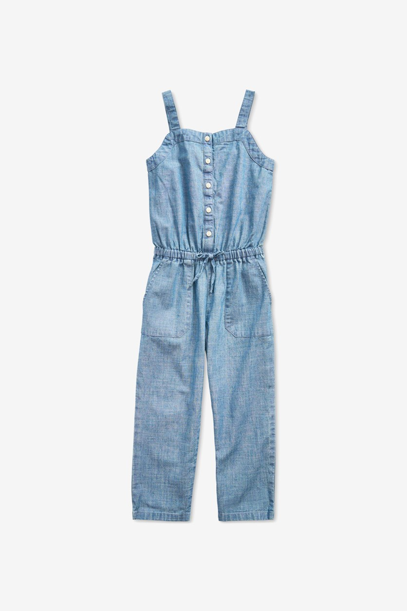 Kids Girl's Cotton Chambray Jumpsuit, Indigo