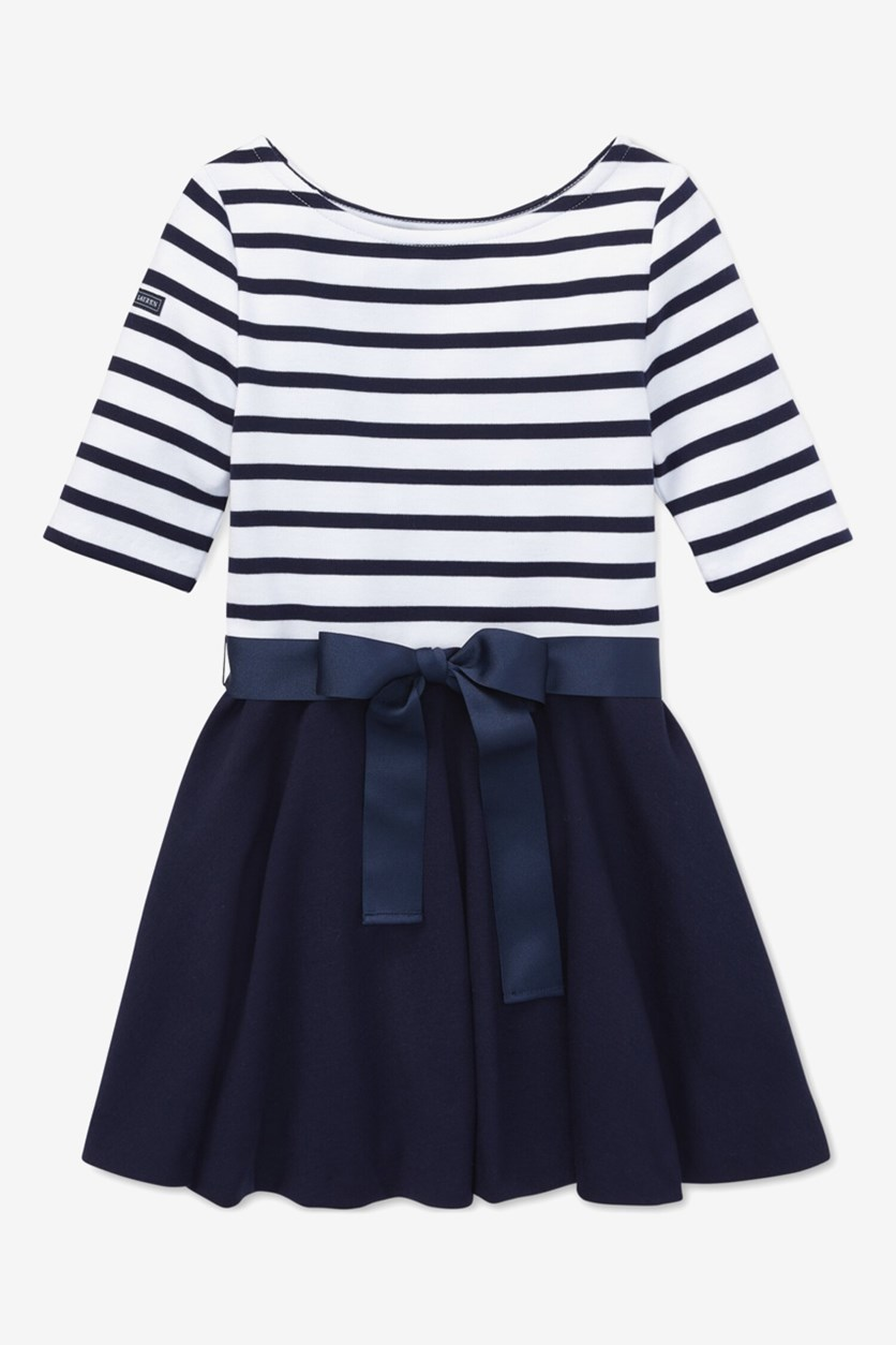 Big Girl's Striped Jersey Ponte Knit Dress, Navy/White