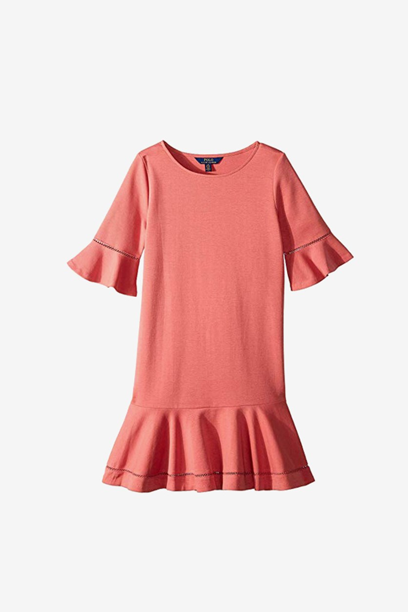 Girls' Ponte Bell-Sleeve Drop-Waist Dress, Cruise Red