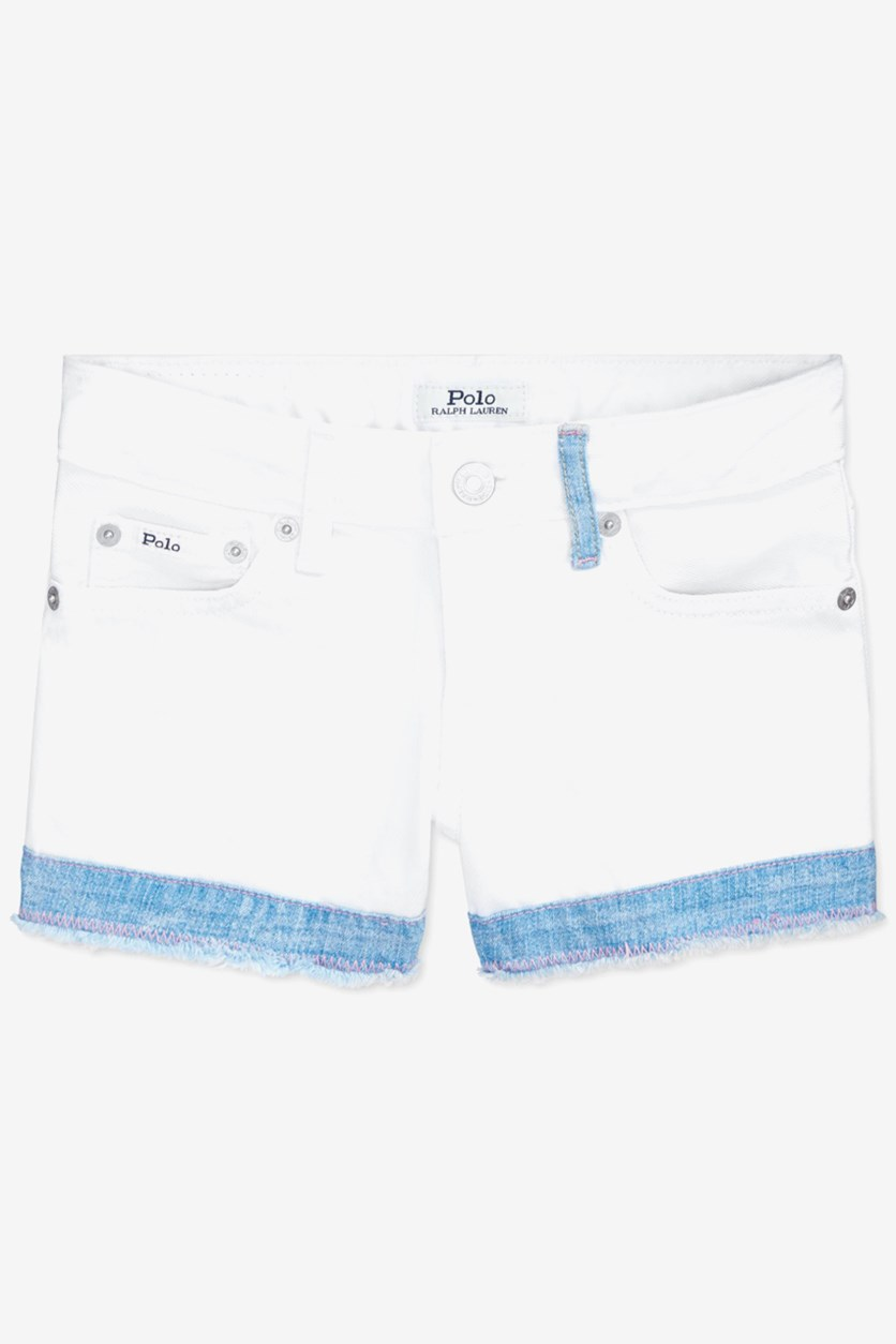 Big Girls Cotton Denim Shorts, White
