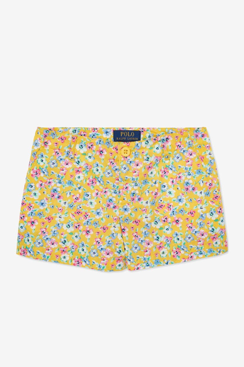 Big Girls Floral-Print Poplin Shorts, Yellow Combo