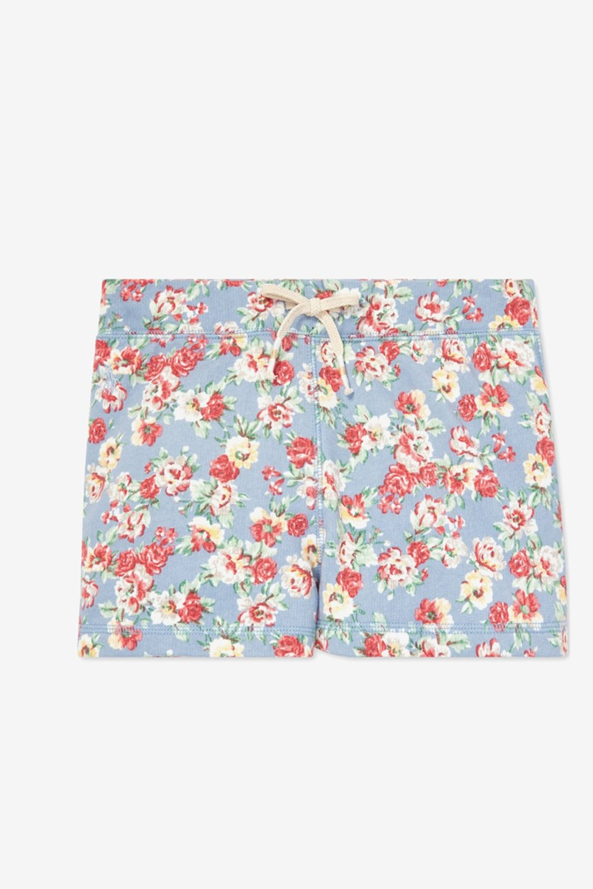 Big Girl's Floral Cotton French Terry Shorts, Spring Blue