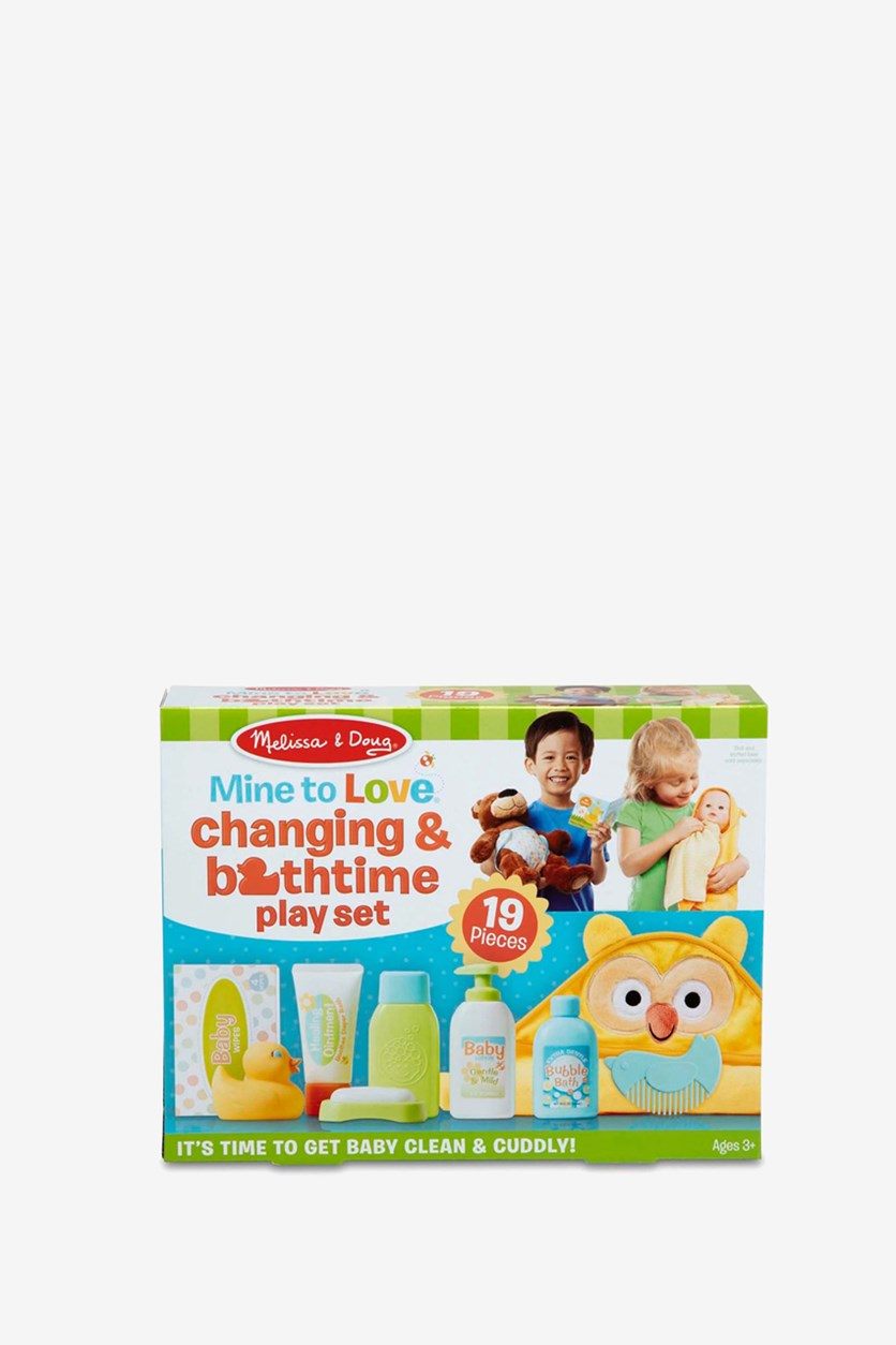 Mine to Love Changing & Bath time Play Set, Yellow/White/Blue