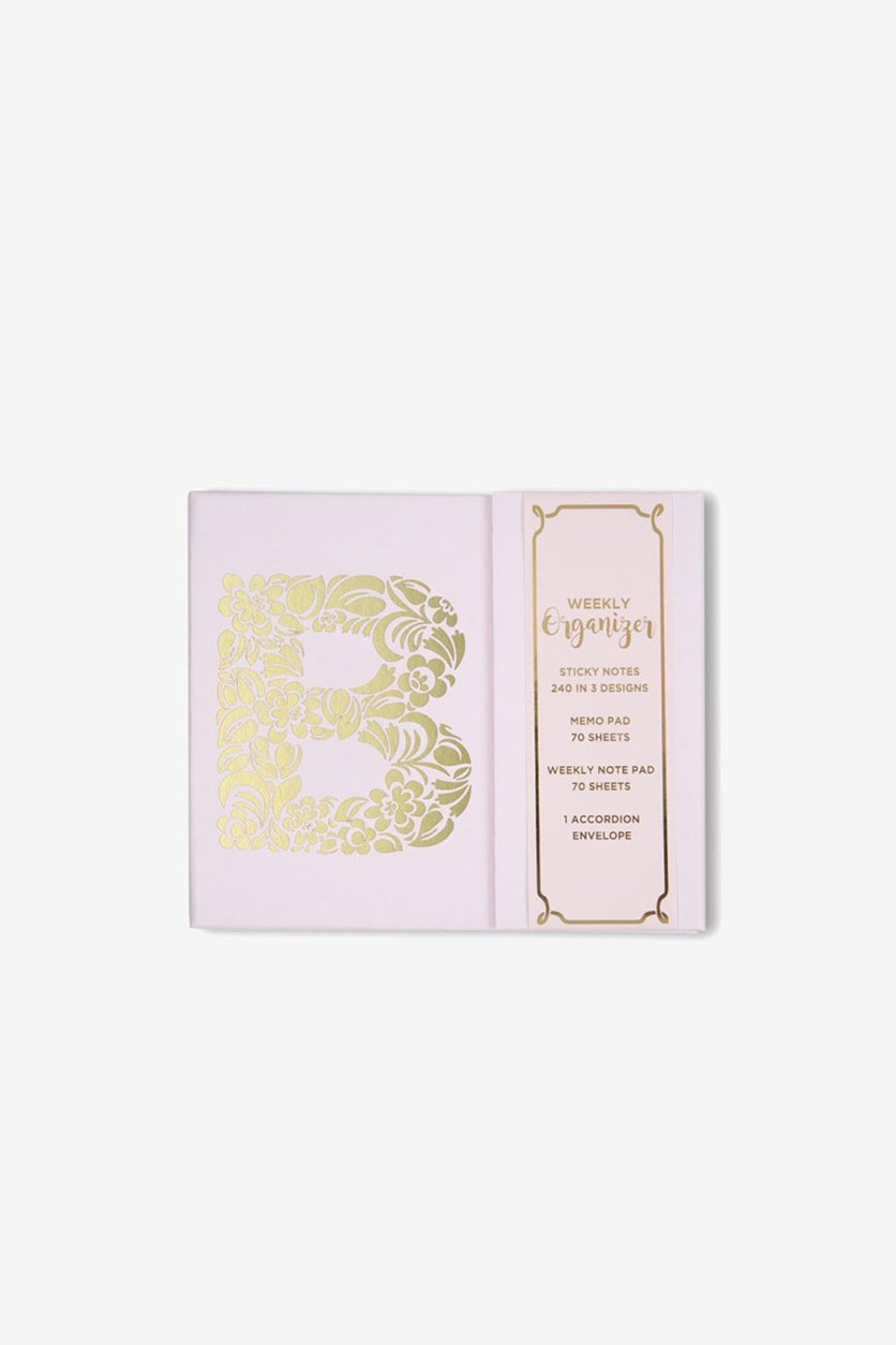 Graphic B Design Weekly Planner, Pink/Gold