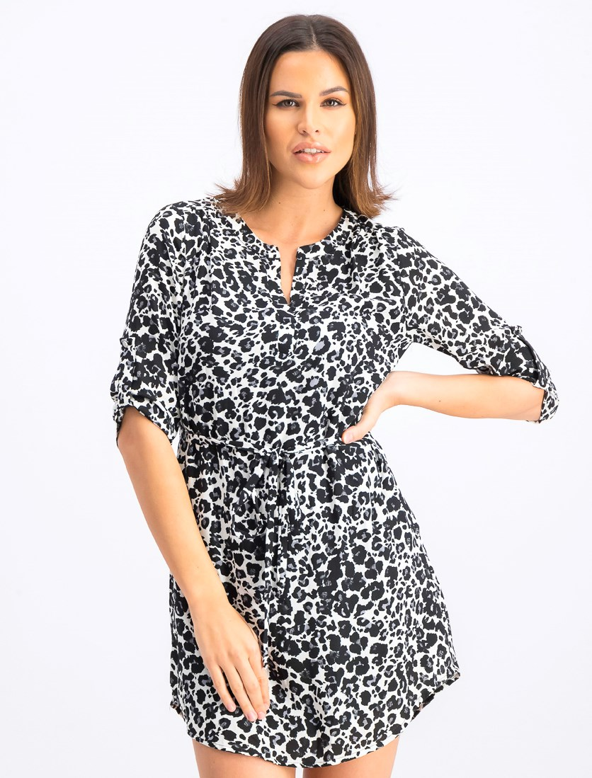 Women's Allover Print Dress, Black/White
