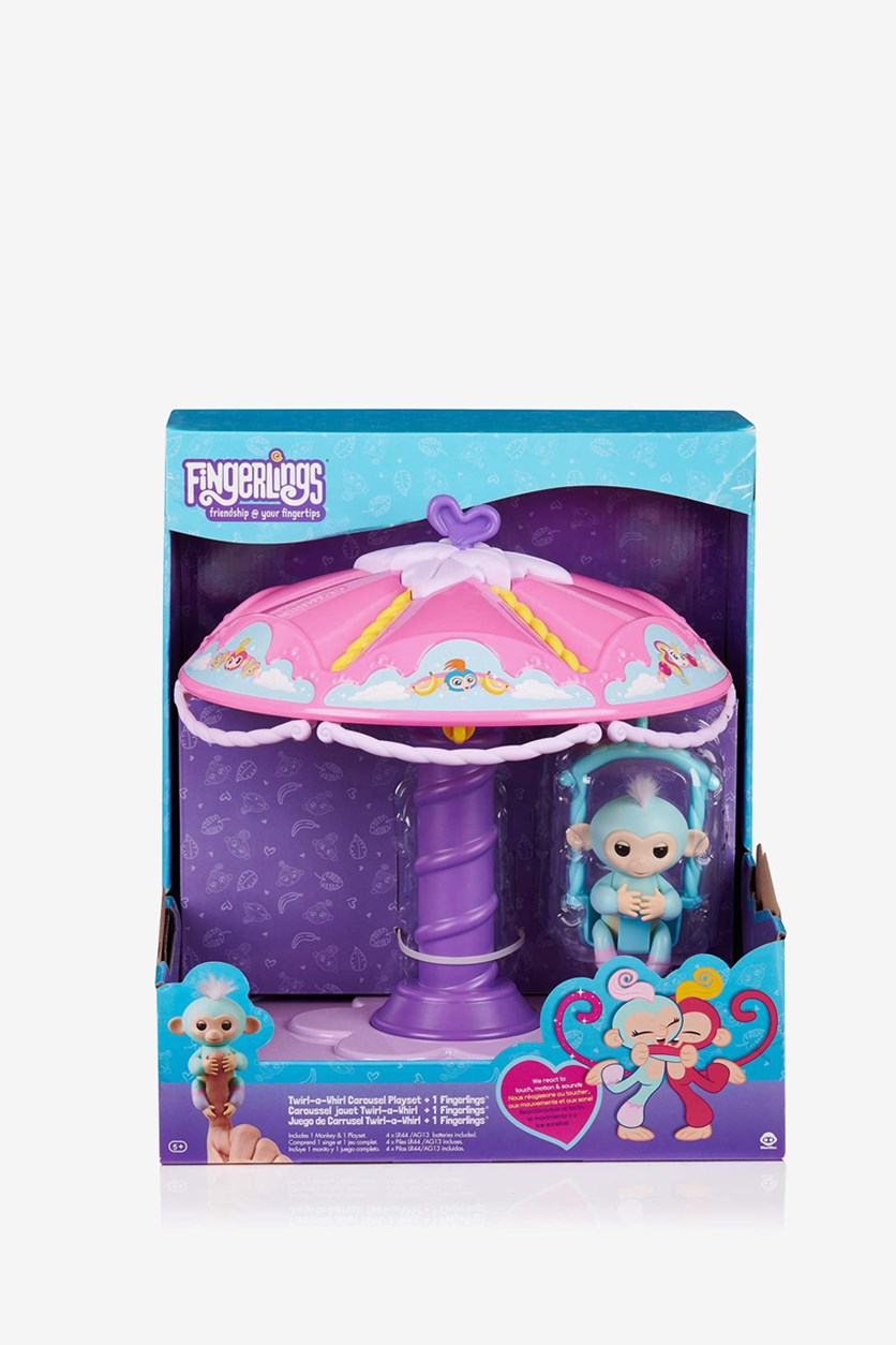 Twirl A Whirl Carousel Set with 1 Fingerlings Baby Monkey, Pink/Purple Combo