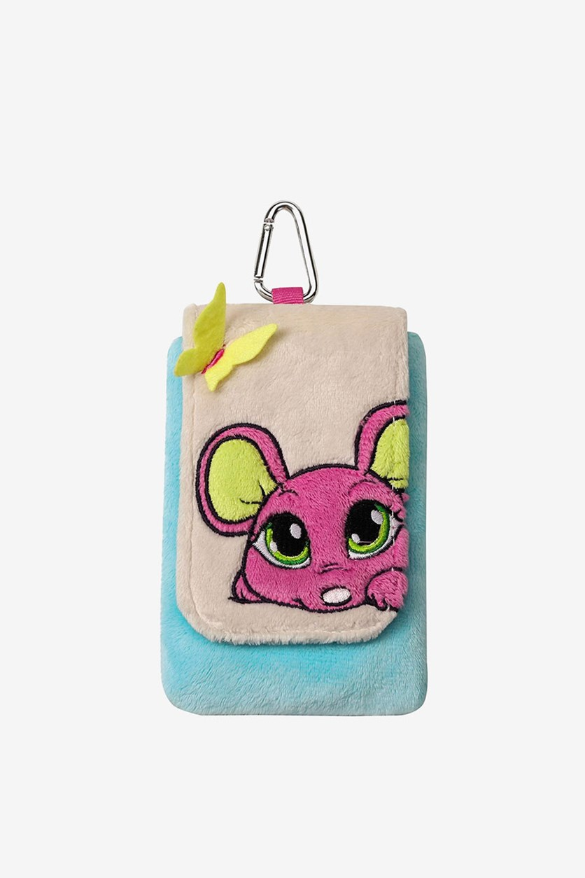 Cellphone Pouch Pink Mouse, Light Blue