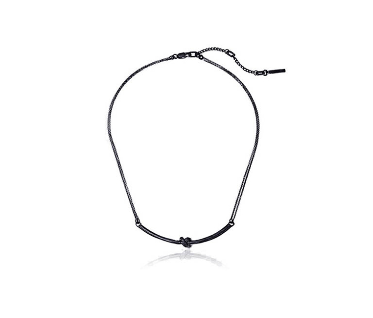 Kenneth Cole Knotted Bar Pendant Necklace, Black