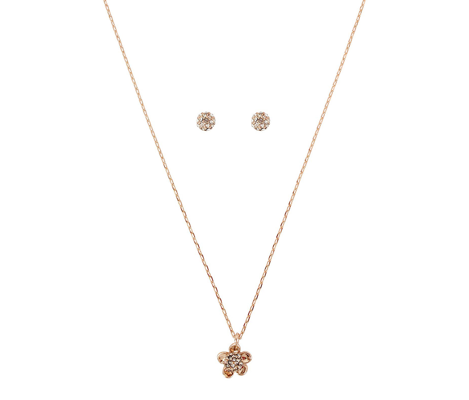Necklace with Pendant and Earrings, Rose Gold