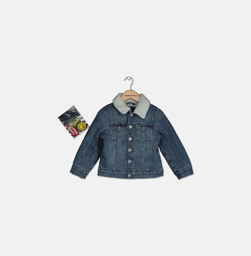 Kids Girl Sherpa Denim Jacket, Denim Blue