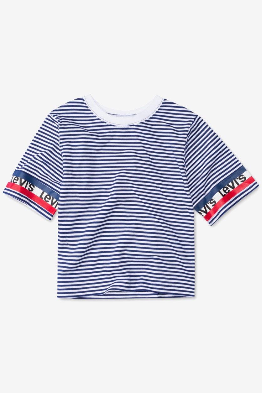 Kid's Girls Striped Logo-Sleeve Cropped Cotton T-Shirt, Blue/White