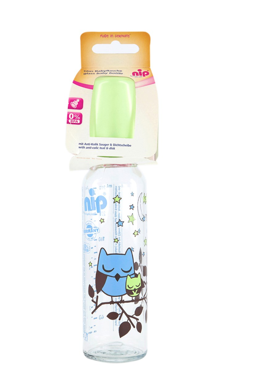 Nip Glass Baby Bottle, Silicone, 240ml, Blue Owl