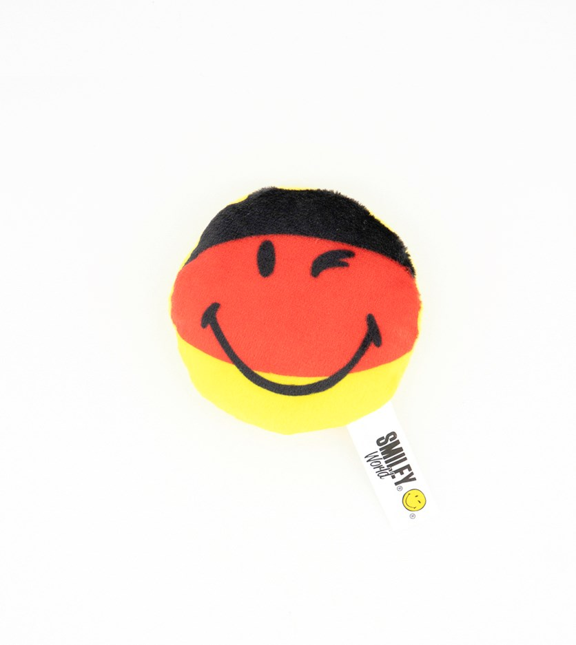 Ornament Magnetic Smiley Small Cushion, Black/Red