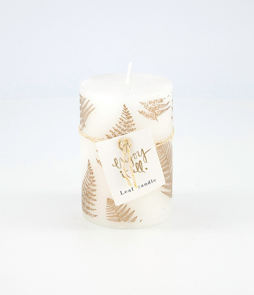 Motif Leaf Candle, White