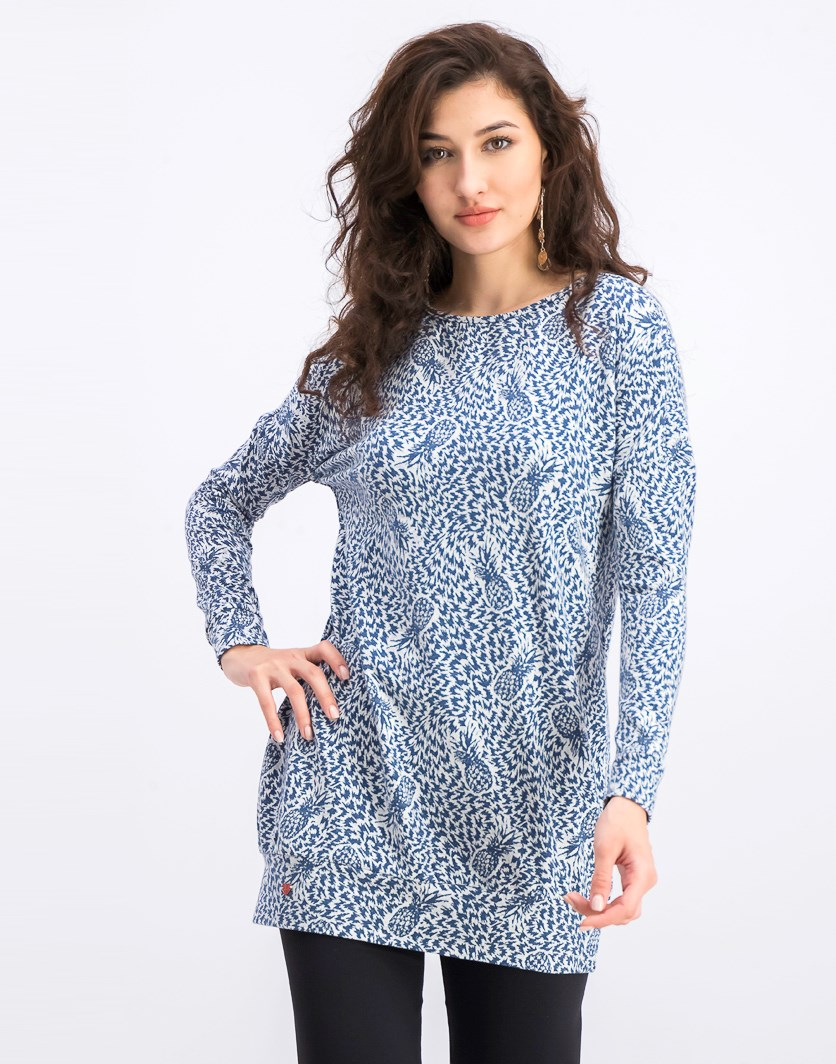 Women's Allover Print Sweater, Blue/White