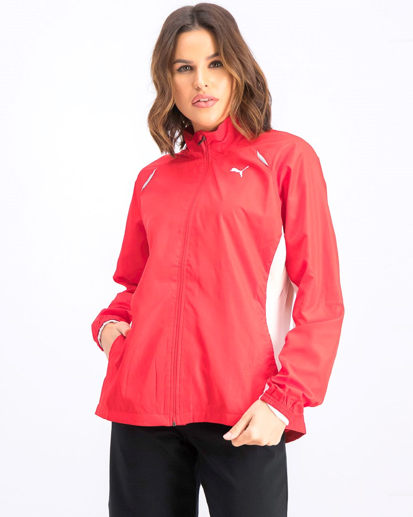 Women's Running Warm Up Jacket, Red/White
