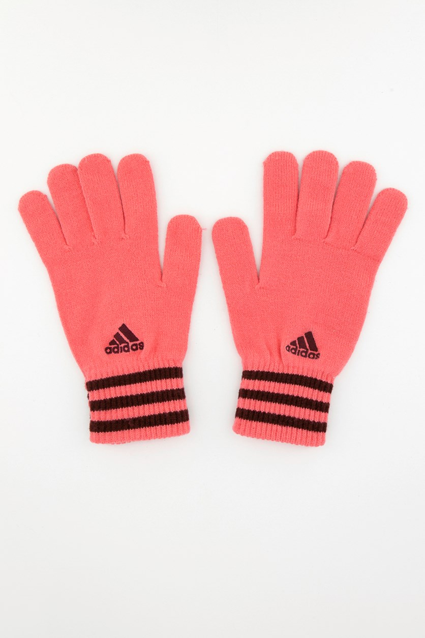 ESS Three Stripe Gloves, Pink/Maroon