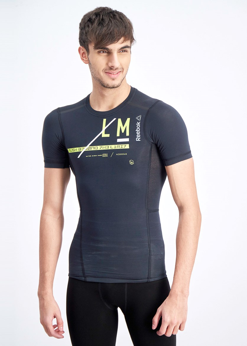 Men's Graphic Les Mill Compresion T-shirt, Black